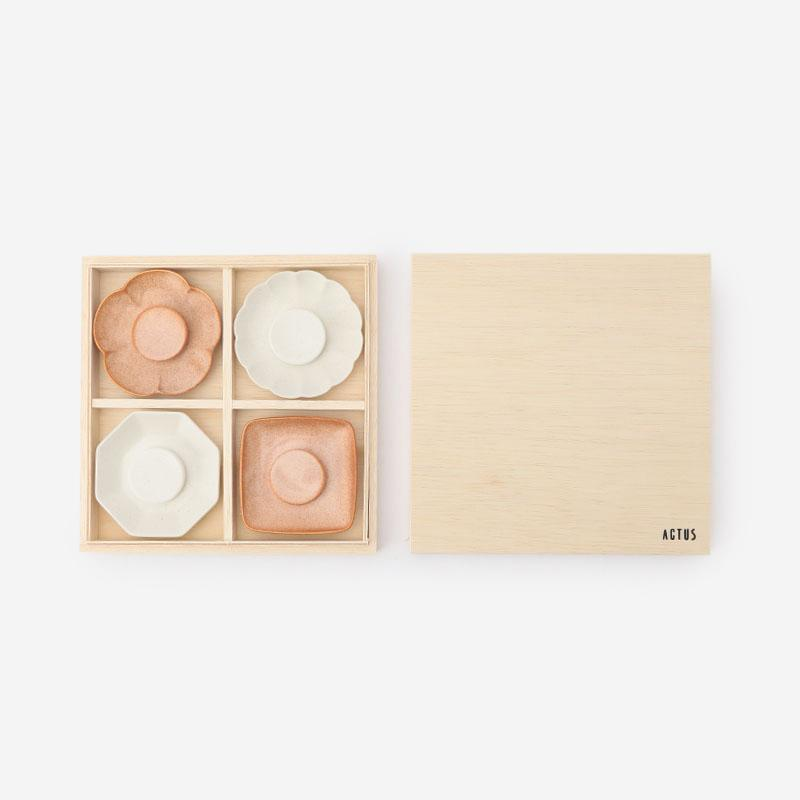 美濃焼 豆皿ギフトセット ピンク/ホワイト
