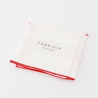 FABRICIA PLANハンカチ ホワイト×レッド