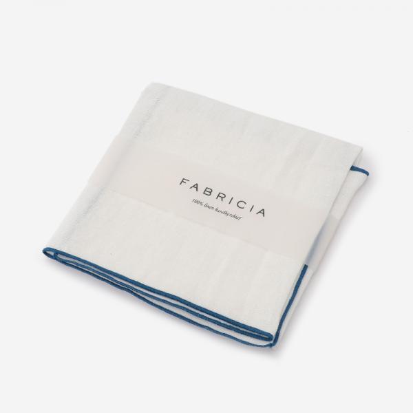 FABRICIA PLANハンカチ ホワイト×ブルー