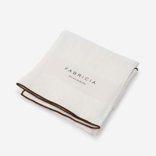 FABRICIA PLANハンカチ ホワイト×ブラウン