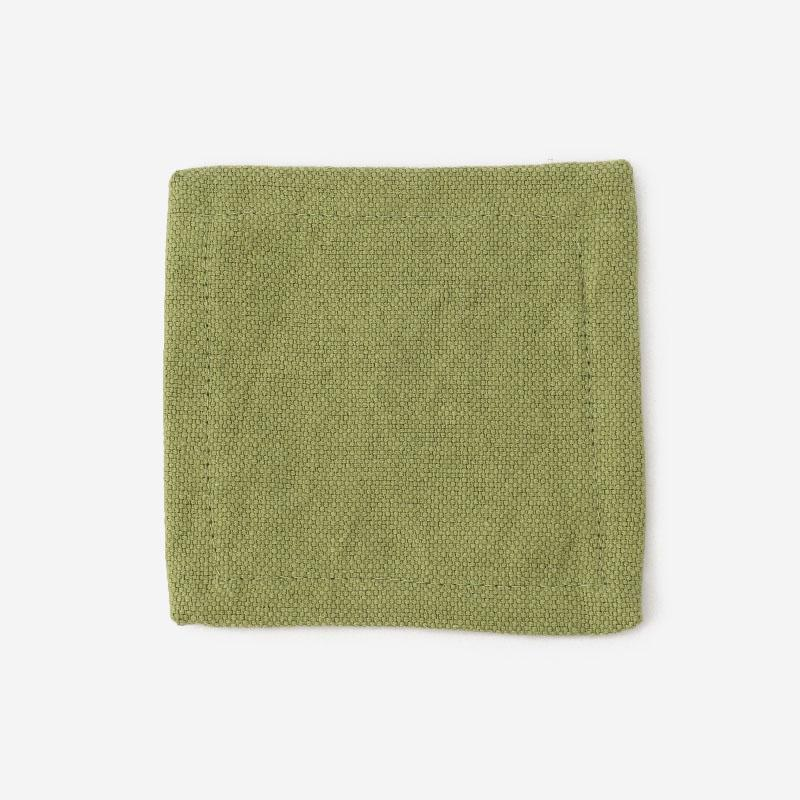 RISE&SHINE BRUNCH リネンコースター 10cm×10cm グリーン