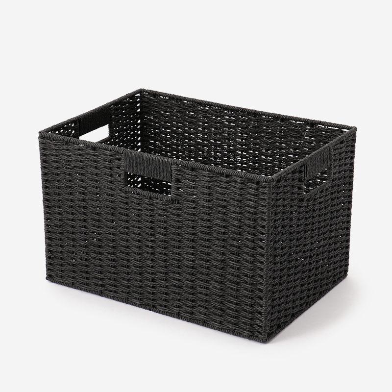 ペーパーコードバスケット 36.5cm×32.5cm×24cm ブラック